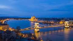 Danube River at blue hour (HansPermana) Tags: budapest hungary ungarn magyar budacastle buda aerialview sunset longexposure eu europe europa centraleurope march 2018 spring lights reflection bluehour bridge brücke danube donau