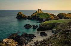 The Warm Twilight of a Summer's Evening (suerowlands2013) Tags: kynancecove thelizard westcornwall summer evening turquoisesea stacks rocks cliffs cove sand beach calm warmth twlight endoftheday warmlight nationaltrust