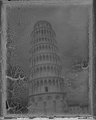 Tower (FP-3000b neg) (mmartinsson) Tags: 2018 decay instantfilm fujifilm pisa analoguephotography negative expired fp3000bnegative leaningtower scan mamiyauniversal 75mm mamiyasekorp epsonperfectionv700 polaroid negativescan film goop
