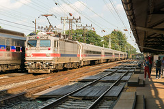 18-5878cr (George Hamlin) Tags: pennsylvania bryn mawr septa 9561 2307 great valley flyer aem7 electric locomotive overhead catenary station platform canopy track trees multiple unit car commuter suburban photo decor george hamlin photography