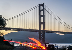 last call at west bluff gate (pbo31) Tags: sanfrancisco california nikon d810 color city urban august 2018 summer boury pbo31 goldengatebridge bridge 101 sunset goldengatenationalrecreationarea presidio fortpoint bay motionblur lightstream traffic roadway orange silhouette motion blur