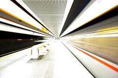 Subway Rush (CoolMcFlash) Tags: subway highkey train station modern lines vienna city citylife tranport public architecture motion blur speed fujifilm xt2 ubahn wien zug linien stadt architektur bewegung bewegungsunschärfe fotografie photography xf1024mmf4 r ois