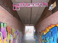 Alleyway (deemptea) Tags: graffiti street art alley somewhere places artist installation reallife sidewalk neon lights city buildings brick found snaphot