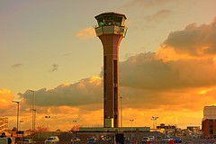 control tower (majka44) Tags: london travel airport luton england car building architecture light sunset parking evening