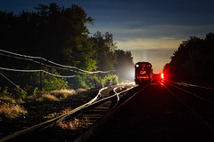 Steel Rail Blues (Ryan J Gaynor) Tags: canadianpacific guelphjunction guelphjunctionrailway night nightexposure slowshutterspeed backlit codeline mainline railroad train trains railfan railway railroading emdsd60m