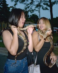 Snake surprise (Howard Sandler (film photos)) Tags: snake filipino festival street flashbulb portra zeiss superikonta mediumformat 6x6 tessar