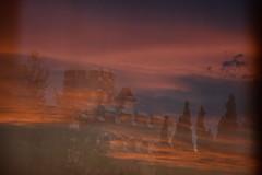 DSC_8412 (griecocathy) Tags: paysage coucher nuage ciel tours rempart arbre reflet transparence bleu orange gris brun