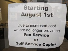 No faxing sign, copy shop,  Burbank, California, USA (gruntzooki) Tags: burbank california cali cal ca sign signs media deadmedia fax