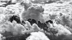 Hiking above the Clouds... (Ody on the mount) Tags: anlässe berge dolomiten em5ii himmel langkofel mzuiko40150 omd olympus südtirol urlaub wanderung wolken bw clouds monochrome mountains quadratisch sw square