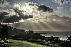 Happy bench Monday..x (shona.2) Tags: hbm eastlothian northsea water seaside scotland crepuscularrays clouds sunshine sunrays rays beach sky benchmonday