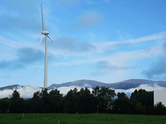 Beautiful day in Killorglin town (krpena.lutkica) Tags: factory sky scenicview windmill field mountains blue clouds