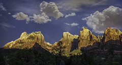 Court of the Patriarchs Zion National Park (McKendrickPhotography.com) Tags: zionnationalpark utah courtofthepatriarchs abraham isaac jacob sandstonepeaks clouds moon