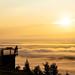 Looking sunrise in Tahko on a misty morning
