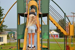 The Kids On The Slide (Joe Shlabotnik) Tags: 2018 aroostook violet august2018 slide everett maine playground vanburen afsdxvrzoomnikkor18105mmf3556ged