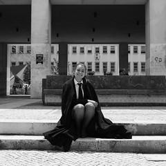 Vera - Coimbra - Portugal (.sl.) Tags: coimbra people portugal streetphotography street streetportrait student women bw blackandwhite school sidewalk