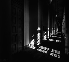 The Hallway (ALGHIME) Tags: bnw bw blackandwhite monochrome monochromatic dark shadows shadow light window windows door reflection reflections black white grey grainy wood wooden floor architecture