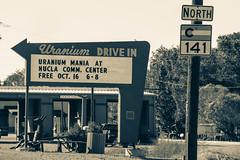 Uranium Drive In - Naturita, Colorado (BeerAndLoathing) Tags: ouraytrip autumn october fallout uranium vintage canon fall naturita 2017 roadtrip trips 77d co141 colorado outdoors monochrome sign blackwhite bw usa blackandwhite