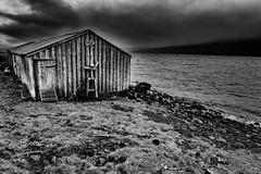 Myri (galvanol) Tags: landscape storm nature eastfjords weather clouds fjord mjóifjörður bw brekkuporp austurland easticeland iceland blackandwhite fog rain light galvanol