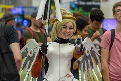 Female cosplayer clad as Mercy from Overwatch. Gamescom 2018 (marcoverch) Tags: e3 cologne deutschland kölnmesse messe fusball zocken games germany computerspiele gamescom cosplay 2018 köln gaming competition wettbewerb people menschen festival wear tragen vehicle fahrzeug adult erwachsene man mann city stadt racecompetition rennenwettkampf parade international woman frau recreation erholung portrait porträt carnival karneval music musik group gruppe performance celebration feier exhibition ausstellung door colour spider mar fish eos dof smoke sunny nikkor femalecosplayer clad mercy overwatch gamescom2018
