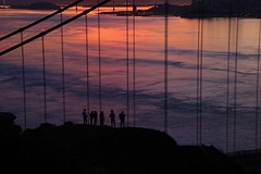 Snapping the Snappers (adamsgc1) Tags: goldengatebridge sanfrancisco sanfranciscobay dawn sunrise photographers waves pink