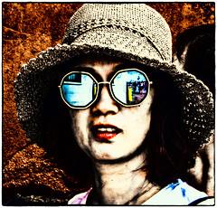 Posterise! (Andy J Newman) Tags: portrait color art street popart italy venice lady colour venezia hat pop candid sunglasses woman colorefex poster posterart glasses om olympus tourist
