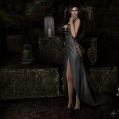 Silke (Algezares (III)) Tags: secondlife sexy sensual dark darkness gown thebeautifulones tbo darknessevent maitreya makeup mesh lelutka leather