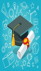 University student cap mortar board and diploma (inola1405) Tags: flat vector illustration icon symbol pictogram isolated cap diploma hat university white scroll school black tassel success blue background graduation wisdom mortarboard ceremony nobody achievement red bachelor degree seal ribbon stamp masters student rolledup college high education higher academy academic gold commencement concept rolled level 3d isometric document graduate