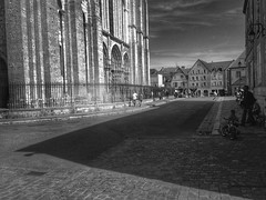 Ombres sur le parvis (LUMEN SCRIPT) Tags: pov perspective fence chartres france shadow light bw blackandwhite square road street monochrome