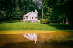 Serenity (RansomedNBlood) Tags: fuji200 olympusstyluszoom115 35mm film church wv westvirginia paintcreek water reflection