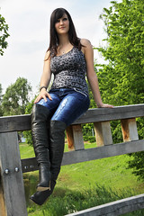 Chrissi 30 (The Booted Cat) Tags: sexy teen girl model tight blue jeans denim boots overkneeboots heels highheels brunette hair