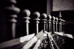 On pins and needles (iamunclefester) Tags: münchen munich sunset golden hour graveyard burial ground needles pins dark monochrome toned barrier tape fence dof matches tip match blackand blackandwhite