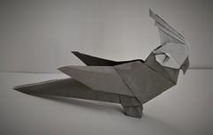 Origami Cockatiel (Tankoda) Tags: origami paper art travis nolan tankoda kakami hitoshi bird cockatiel parrot gray 6 inch kami pure