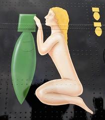Naked Lady & Bomb Nose Art (Grumman G1159) Tags: nakedlady bomb noseart logo badge crest insignia r5868 pos 467squadron raf royalairforce lancasterb1 raf100 manchester