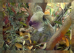 When you have a dream, you've got to grab it and never let go. (Carol Burnett) (boeckli) Tags: koala tier animals photoborder deepdreamgenerator textures texturen texture textur outdoor zoo tarongazoo plants australia sydney newsouthwales filterforge