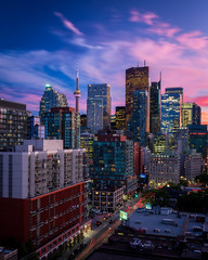 from Richmond & Sherbourne (Brady Baker) Tags: toronto canada ontario city downtown core skyline cityscape urban tower built structure architecture sunset dusk color sky lights business density bluehour