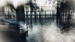 Riverbank XVII (Zara.B) Tags: abstract painterly intentionalcameramovement iphone icm impressions river colour faded houseboats barge experimenting slowshutterapp snapseed