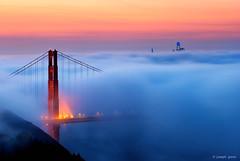 Magical (Joseph Greco) Tags: skyscrapers sanfrancisco golden gate bridge goldengatebridge fog twilight morning dawn city suspensionbridge marinheadlands