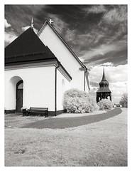 Frösö church (2018) (phamnes) Tags: epsonv600 blackandwhitefilmphotography frösö sweden xtol r72filter infraredfilm infrared slr superpan200 rolleisuperpan nikonf301
