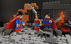 The Perfect Earth Doesn't Need a Superman (-Metarix-) Tags: lego minifig dc comics comic earth 1 2 superman wonderwoman infinite crisis issue 5 perfect need justice league rubble custom diorama