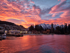 Before my Morning Interview (Trey Ratcliff) Tags: stuckincustomscom treyratcliff queenstown newzealand lake sunrise clouds pink purple blue city morning reflections waves aurorahdr hdr hdrphotography hdrphoto