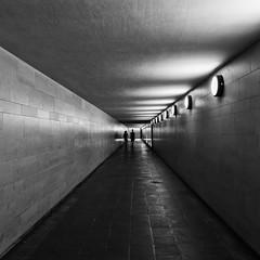 Tunnel View (Leipzig_trifft_Wien) Tags: berlin deutschland de people tunnel contrast blck white blackandwhite bnw person silhouette square pov