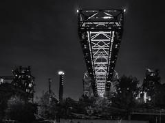 LaPaDu at night (Meinersmann, Thomas) Tags: 1240mm128pro duisburg lapadu nrw omdem5ii olympus stahlindustrie thomasmeinersmann bw