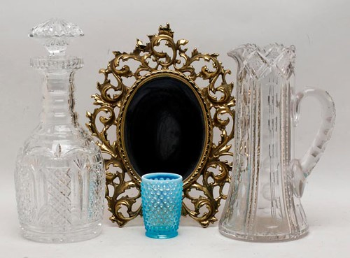 Pictured on the left, 1998 Waterford crystal James Hoban magnum decanter ($179.20)