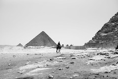 Giza (Dimitri Tenezakis) Tags: egypt giza pyramid architecture monument archaeology street streetphotography people camel desert sand bw nb blakandwhite noiretblanc