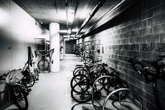Bikes underground, Battery Point-5 (Tasmanian.Kris) Tags: tasmania hobart bikes racks cycle bicycle work bw
