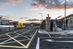 THE REFURBISHED KENT RAILWAY STATION AND NEARBY [PHOTOGRAPHED AT SUNSET IN SEPTEMBER 2018]-144421 (infomatique) Tags: thomaskent trainstation memorial glanmireroadstation hogansquay transport publictransport busservice bikehire williammurphy sunset sony a7riii streetphotograpgy irishrail cie