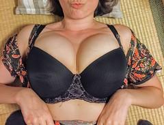 black bra (anonymous milf) Tags: nipslip nipple lingerie milf cleavage boobs big sexy wife bikini downblouse upskirt stockings miniskirt latina hot beautiful tetona madura portrait lace bra latex vinil