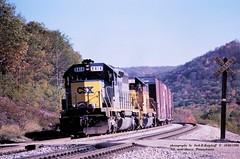 (SEE & HEAR)---CSX 8414-Ches 6126, Mance, PA. 10-06-1990 (jackdk) Tags: train railroad railway locomotive emd emdsd40 emdsd402 sd40 sd402 seeandhear seehear csx csxt csxpittsburghsub csxkeystonesub keystonesub mance mancepa bo baltimoreandohio sandpatch sandpatchgrade r217 standardcab crossing railroadcrossing freighttrain freight q217