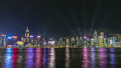 Harbour Laser (syf22) Tags: hongkong harbour water victoriaharbour lightshow symphonyoflights displays laser show dark dusk evening colourful night laserlights modern buildings architecture cityskyline moderncity fareast rainbow dock shelter shore waterfront seafront bay cove inlet earthasia