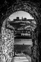 Whitby-7711 (timbertree9) Tags: whitby northyorkshire northsea north england seaside seafront clouds seagulls whitbyharbour whitbyabbey abbey historic blackandwhite mono monochrome yorkshire unitedkingdom tunnels gritty lifeboat